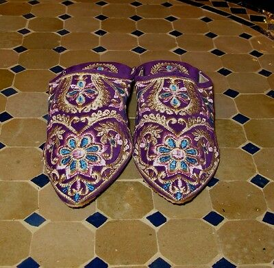 Women home shoes-Women house shoes-Gold blue and purple slippers-House slippers