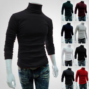 Men-039-s-Winter-Warm-Cotton-High-Neck-Pullover-Jumper-Sweater-Tops-Turtleneck-NTAT