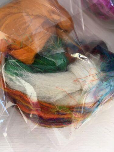 Felting Spinning Fibre Art Assorted recycled silk sari Tops Off Cuts  10g
