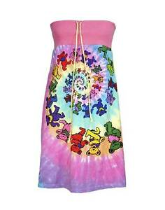 Image Is Loading Grateful Dead Bears Psychedelic Spiral Tie Dye Strapless
