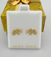 Solid 14k Yellow Gold Elephant Earrings Free Shipping Service