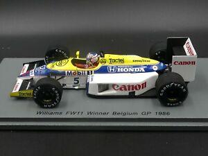Spark-1-43-Nigel-Mansell-Williams-FW11-Belgian-GP-F1-1986-S7481-new-resin