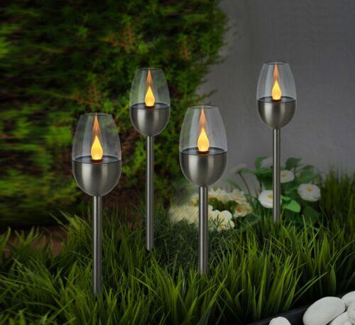 Set LED Solarleuchten Fackel Effekt  Garten Leuchten 38 cm Kunststoff Edelstahl