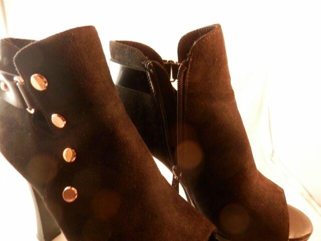 DLDS Black Suede Ankle platform platform platform bootie open toe gold accents size 36 USA 5.5 - 6 637300