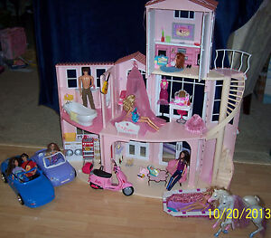 Barbie dream house sounds accessories cars motorcycle dolls pool horses ebay for Barbie doll house with swimming pool