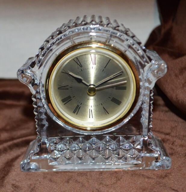Unique shape for 24% Lead Crystal Clock Roman Numeral Design Godinger