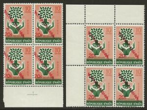Haiti-1960-WRY-Alphabetisation-PAIR-B14-Variety-SHIFTED-OVPT-Normal-F-VF-NH