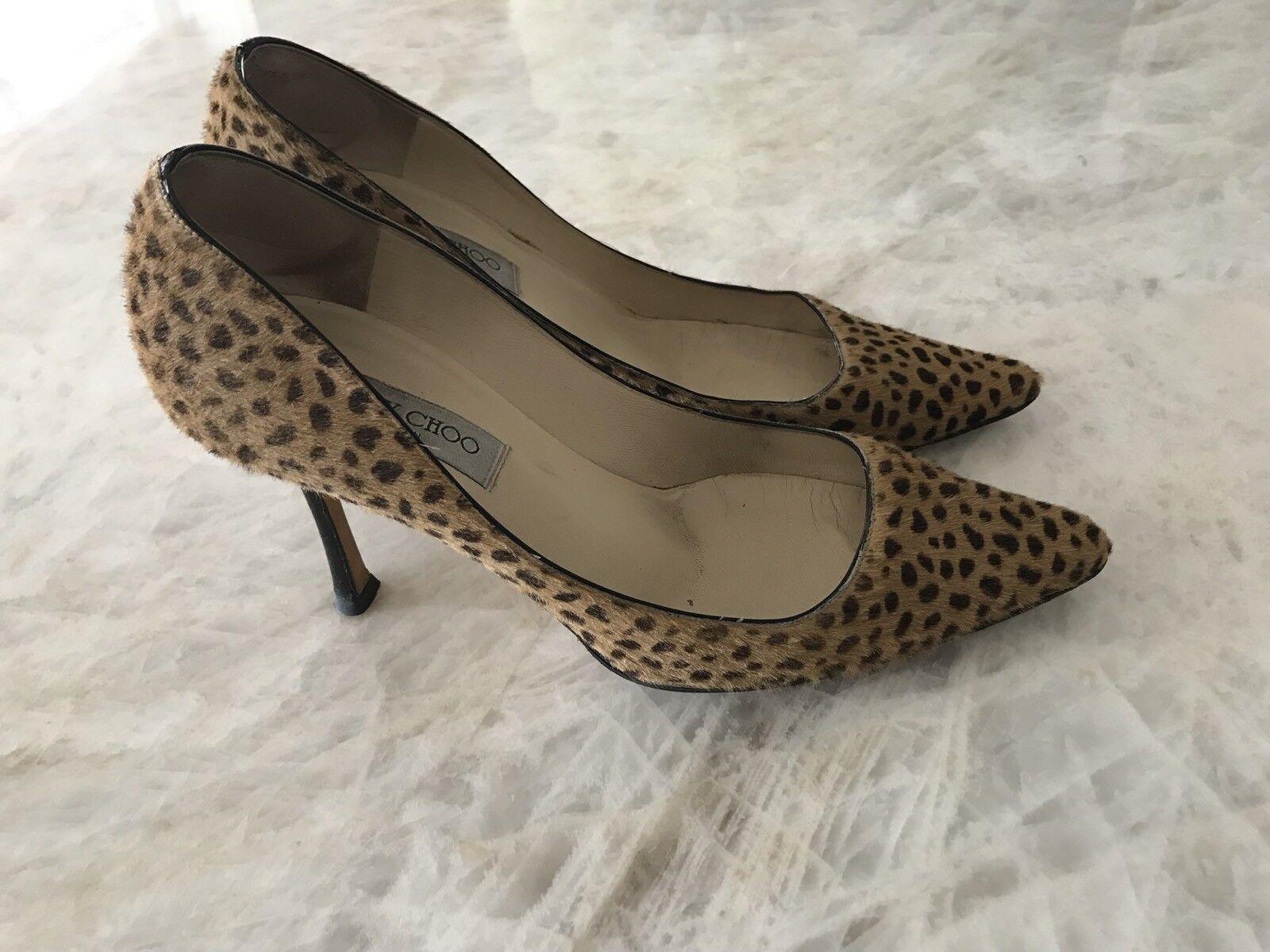 negozio di vendita outlet JIMMY JIMMY JIMMY CHOO Animal Leopard Print Calf Heels 39.5  vendite calde