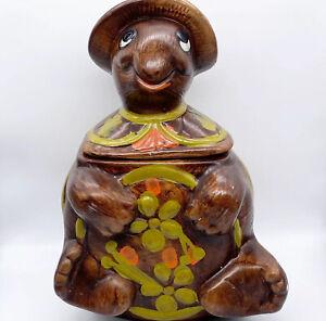 Vintage-1960s-USA-Pottery-Retro-Turtle-Lidded-Cookie-Jar-2635-12-H-8-5-W