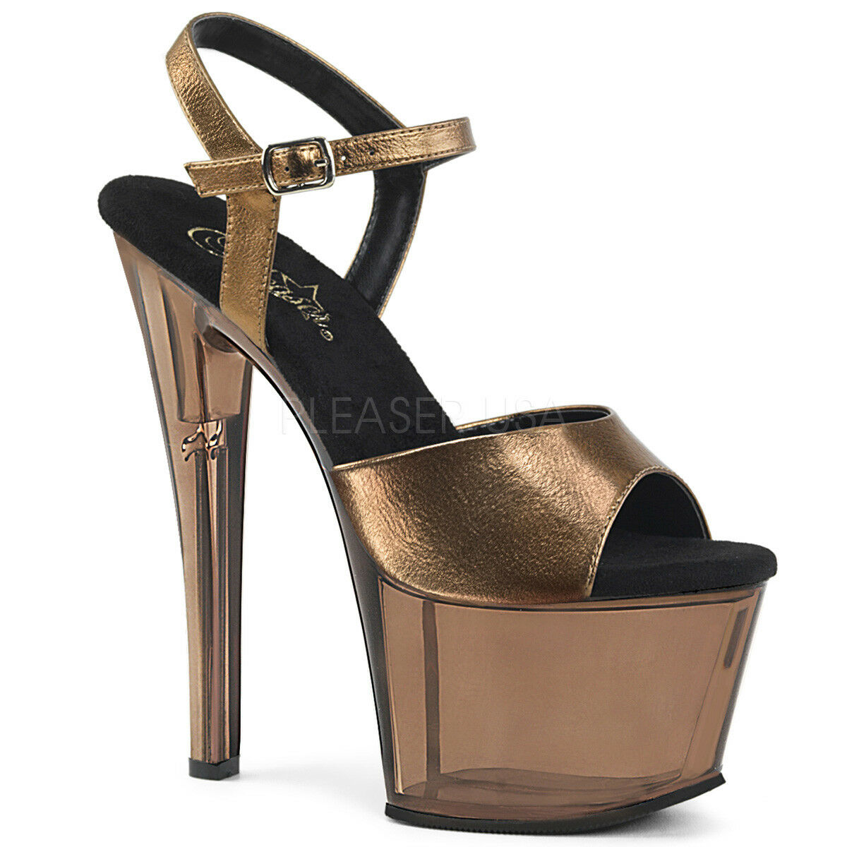 PLEASER Sexy Stripper 7  Heel Bronze Tinted Platform Ankle Ankle Ankle Strap Women's shoes 5475c6