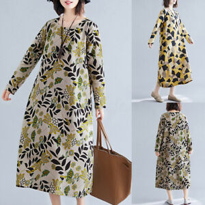 UK-Women-Long-Sleeve-Cotton-Linen-Shirt-Dress-Floral-Printed-Midi-Dress-Kaftan