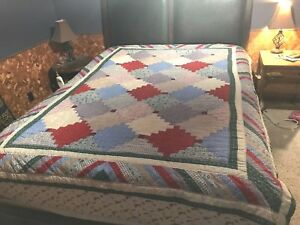 2-Matching-VTG-cotton-Patchwork-Quilt-Quilted-Twin-Bed-67x86-hand-made-stitched
