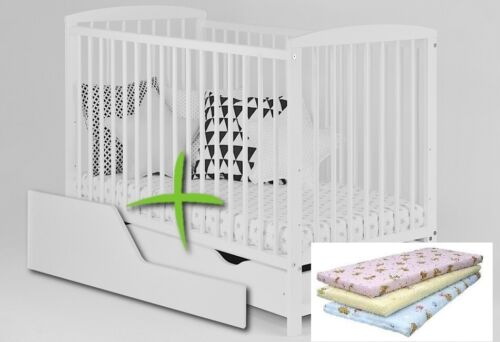 2in1 JASPER WHITE BABY COT WITH DRAWER OPTIONAL MATTRESS FREE BARRIER