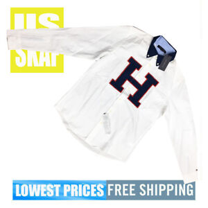 Tommy-Hilfiger-Men-039-s-NWT-White-Button-Down-LONG-Sleeve-Shirt-BIG-H-Medium