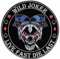 Wild Joker Live Fast Die Last Mc Club Embroidered Biker Back Vest Patch Lrg-0610