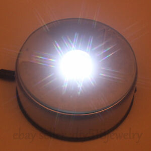 New-Unique-360-Rotating-Crystal-Display-Base-Stand-7-LED-White-Light-adapter