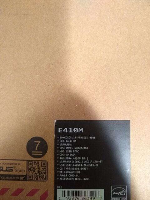 Asus E410MA-202 14'' HD Laptop Intel Celeron N4020 4GB 128GB eMMC Blue