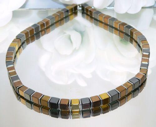 Kette Halskette Würfelkette Cube Hämatit braun bronze schwarz gold silber 067e