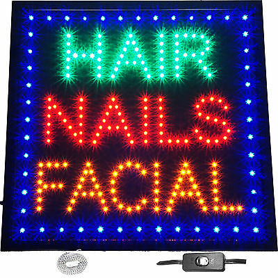 "Large 19x19"" Hair Nails Facial LED Open Sign Beauty Salon Spa Waxing Barber Shop"