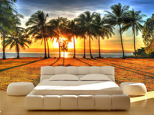 Image Is Loading Ocean Palm Tree Sunset Sky Beach Wall Mural