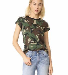 Rag & Bone/Jean Women's Camouflage army green cotton shirt short sleeve S/P EUC+
