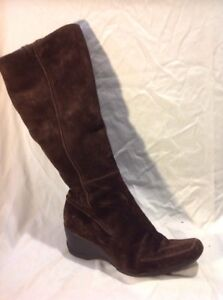 8d Clarks High Suede Knee Brown Boots Size q1ATwf