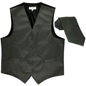 New Men's Formal Tuxedo Vest Waistcoat_Necktie solid dark gray wedding prom