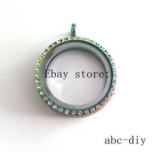 Rainbow Crystal Key Glass Locket with Chain Necklace 10pcs Floating Charms