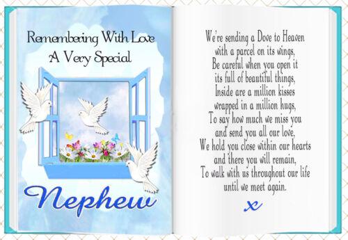 NEPHEW BOOK SHAPED MEMORIAL BEREAVEMENT GRAVESIDE CARD /& FREE HOLDER