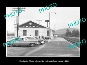 OLD-LARGE-HISTORIC-PHOTO-OF-SANDPOINT-IDAHO-THE-RAILROAD-DEPOT-STATION-c1960