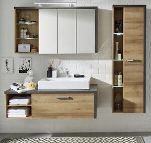 Bad Set mit Waschbecken Badezimmer komplett Eiche Honig Stone Design ...