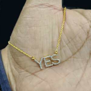 YES Initial Diamond Pave 14K Yellow Gold Pendant Necklace Women's Gift Jewelry