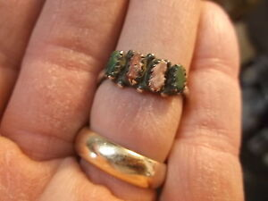 #122 of 245, NEAT VTG LADIES STERLING SILVER, CORAL & TURQUOISE RING, SIZE 8.75