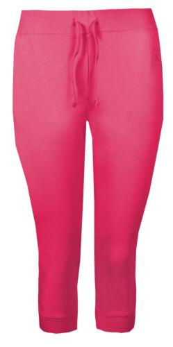 Da Donna RITAGLIATA Pantaloni Sportivi Plain Crop COTONE SWEAT PANTS BOTTOM POLSINO PALESTRA DANZA NUOVA
