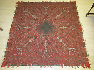 70-034-X70-1800s-Antique-Hand-Made-Paisley-Wool-Piano-Shawl-Victorian-Scarf-Stunning