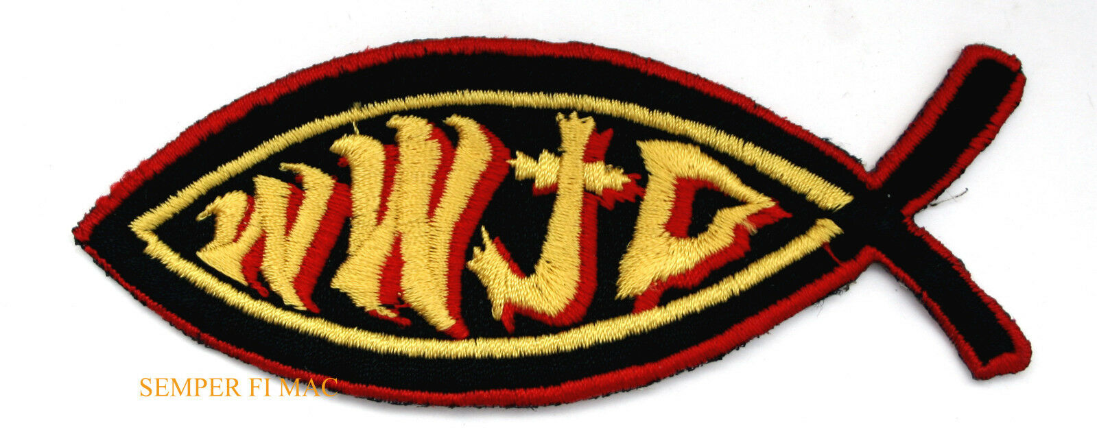 Wwjd what would jesus do fish christian iron on hat patch for Does fish have iron
