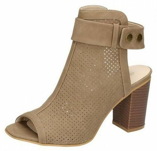Ladies Spot On Taupe Button Popper Sandals F10522