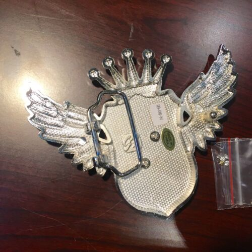 """BEAUTIFUL BIKERS BELT BUCKLE WITH /""""B/"""" INITIAL ON WING RIHNSTONE NEW GREAT GIFT"""