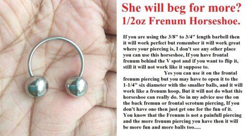 "1//2 oz balls 1/"" Frenum Horseshoe. Make her beg for more"