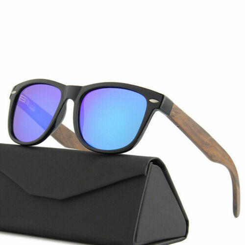 Walnut Wooden Mens and Womens Sunglasses with Matte Black Polarised Lenses