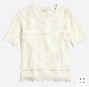J-Crew-Women-039-s-Crew-Neck-Short-Sleeve-Fringe-Sweater-M-Medium-White