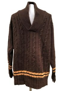 NEW-amp-LINGWOOD-MEN-039-S-BROWN-CASHMERE-SHAWL-COLLAR-SWEATER-XXL-495