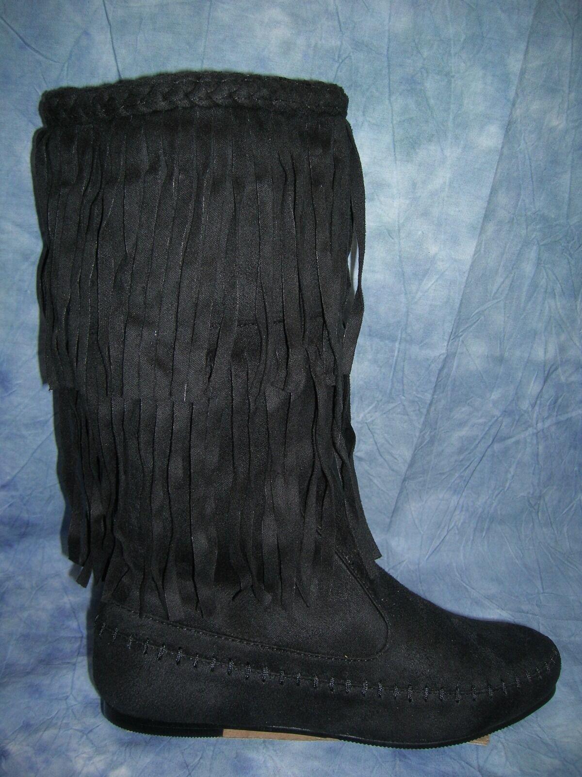 WILD DIVA BLACK SUPER SUEDE WESTERN BOOTS w/ FRINGES  SIZE 7