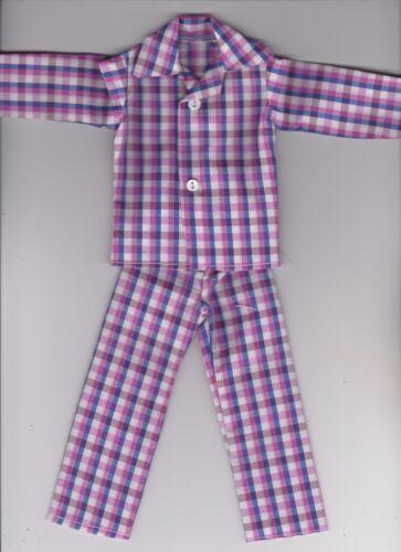Homemade Doll Clothes-Purple//Blue//White Plaid Print Button Pajamas fit Ken KP2