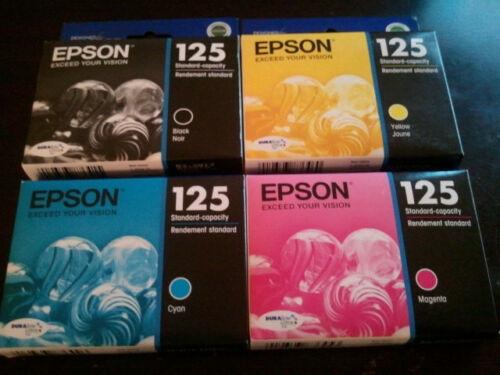 T1251 - T1254 2015//2014 NIB 4 Genuine EPSON 125 Inks T125  T125120BCS
