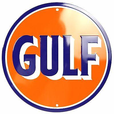"DC85030 Gulf Logo Die Cut 12/"" Embossed Metal Circle Sign"