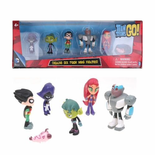 Teen Titans Go Teen Titans mini Action Figure Robin Raven Silkie Toy Gift 6-Pack