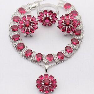 Beautiful Red Ruby Aaacz 925 Argent Collier Pendentif Bracelet Boucles D'oreilles Bague Set-afficher Le Titre D'origine