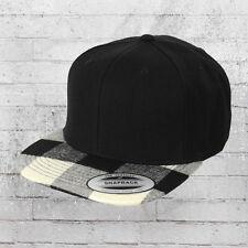 Yupoong Snapback Cap Checked Flanell Peak schwarz schwarz weiß Kappe Mütze Haube
