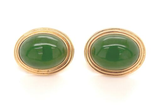 Superb Gump's Pair Of Vintage Jadeite Jade 14K Gol